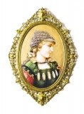 Antique Berlin Oval Porcelain Plaque Young Woman Ormolu Frame 19th C