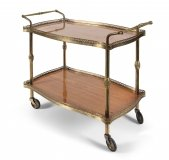 Modernist French Gilt Brass Hostess Trolley Dry Bar Mid 20th Century