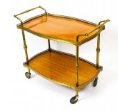 Modernist French Gilt Brass Hostess Trolley Dry Bar Mid Century