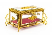 Antique French Louis Reviva Ormolu & Glass Jewellery Casket 19th Cent.