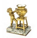 Antique French Ormolu Artistic Cherub Inkwell 19th C