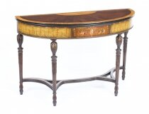 Antique Mahogany and Satinwood Hand Painted Adam Revival Console Table 19th C