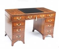 Antique Victorian Caddy Top Mahogany Pedestal Desk C1880 19th Century