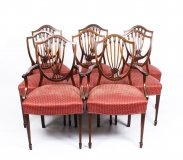 Antique Set 8 English Mahogany Hepplewhite Inlaid Dining Chairs 19th Century