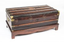 Antique French Steamer Trunk Coffee Table by Au Depart 19th C