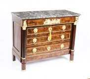 Antique French Empire Chestnut Commode Chest Marble Top