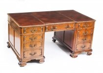 Antique Flame Mahogany Partners Pedestal Desk George III Revival 19th C