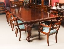 Antique 12 ft Dining Table by Edwards & Roberts 19th C & 12 bar back chairs