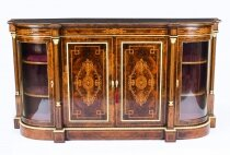 Antique Victorian Burr Walnut Inlaid Credenza Side Cabinet