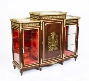 Antique Napoleon III Flame Mahogany Boulle Credenza 19th Century