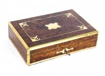Antique Victorian Burr Walnut & Cut Brass humidor 19th C
