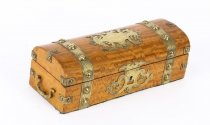 Antique Victorian Satinwood and Cut Brass Glove Box 19th Century