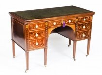 Antique Edwardian Marquetry Inlaid Desk Writing Table 19th C