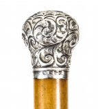 Antique English Silver & Malacca Sword Walking Stick Cane 19th Century