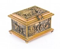 Antique French Gilt Brass and Bronze Jewellery Box Casket AB Paris 19thC