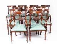 Vintage Set 12 Mahogany Regency Revival Bar Back Dining Chairs 20th C