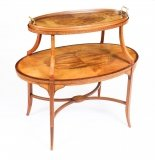 Antique Sheraton Revival Satinwood and Marquetry Etagere Tray Table