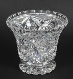 Vintage Cut Glass Crystal Glass Vase Mid 20th Century