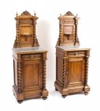 Antique Pair Italian Walnut Marble Top Bedside Cabinets c1870