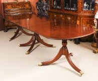 Vintage11ft Regency Mahogany Triple Pillar Dining Table William Tillman 20th C