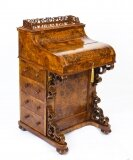 Antique Victorian Burr Walnut Pop Up Davenport Desk