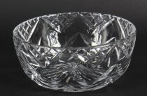 Vintage Large English Crystal Cut Glass Bowl Mid Century