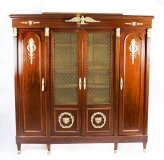 Antique French 2nd Empire 4 door Mahogany Bookcase 19th C