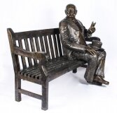Vintage Larger than Life Size Bronze Winston Churchill on a Bench 20th Century