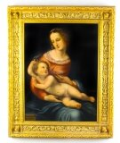 Antique Oil Painting & 39 The Mother and Child& 39 by Egisto Manzuoli 19th Century