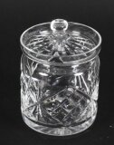 Vintage Cut Glass Crystal Lidded Jar Mid 20th Cent