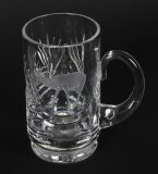 Vintage Cut Glass Tankard Engraved with Stag Signed ACC Mid 20th Century