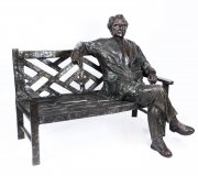 Vintage Larger than Life Size Bronze of Albert Einstein on a Garden Bench 20th C