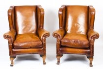 Vintage Pair Tan Leather Chesterfield Wingback Armchairs late 20th Century