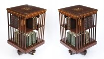 Antique Pair Edwardian Inlaid Mahogany Square Revolving Bookcases C1900