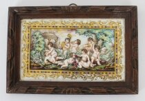 Antique Italian Framed Capodimonte Porcelain Plaque Early 19th Century 19x27cm