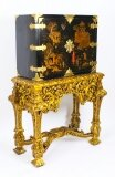 Antique Chinoiserie Lacquer Cabinet Giltwood Stand Fitted Interior C1900