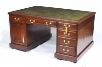 Antique 5ft Victorian Mahogany Partners Pedestal Desk 19th C