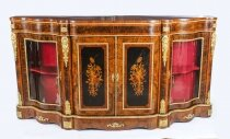 Antique Victorian Burr Walnut & Marquetry Serpentine Credenza 19th C