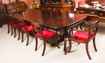 Antique Twin Pillar Regency Dining Table & 10 Regency chairs C1820 19th C