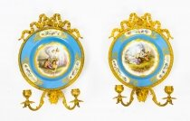 Antique Pair Ormolu & Sevres Porcelain Two Branch Wall Lights Sconces 19th C