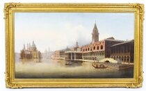 Antique Oil Painting Riva degli Schiavoni Venice Vavrinec Zabehlicky 19th C