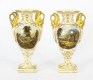 Antique Pair Derby Gilt Swan Neck Handled Ovoid Cabinet Vases 18th Century