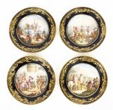 Antique Set of 4 Sevres Hand Painted Sevres Porcelain Cabinet Plates 19th C