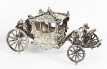 Vintage Sterling Silver Model of Queen& 39 s Coronation Coach 20th C