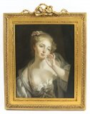 Antique French Oil Painting of a Young Maiden Gilded Frame 1850 19th C