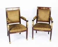 Antique Pair Empire Revival Ormolu Mounted Armchairs C1880 19th C