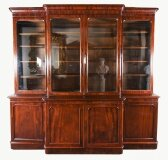 Antique English Flame Mahogany Library Breakfront Bookcase 19th C