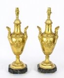 Antique Pair French Ormolu Urn Table Lamps C1870 19th Century