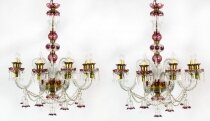Antique Pair of Venetian 8 Light Crystal Cranberry Chandeliers C1900
