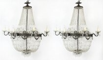 Antique Pair Louis Revival 20 light Ballroom Cut Crystal Tent Chandeliers c1920